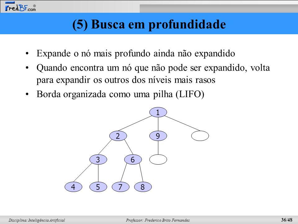 Professor: Frederico Brito Fernandes 36/48 Disciplina: Inteligência Artificial (5) Busca em profundidade Expande o nó mais profundo ainda não expandido Quando encontra um nó que não pode ser expandido, volta para expandir os outros dos níveis mais rasos Borda organizada como uma pilha (LIFO) 1 29 36 5874