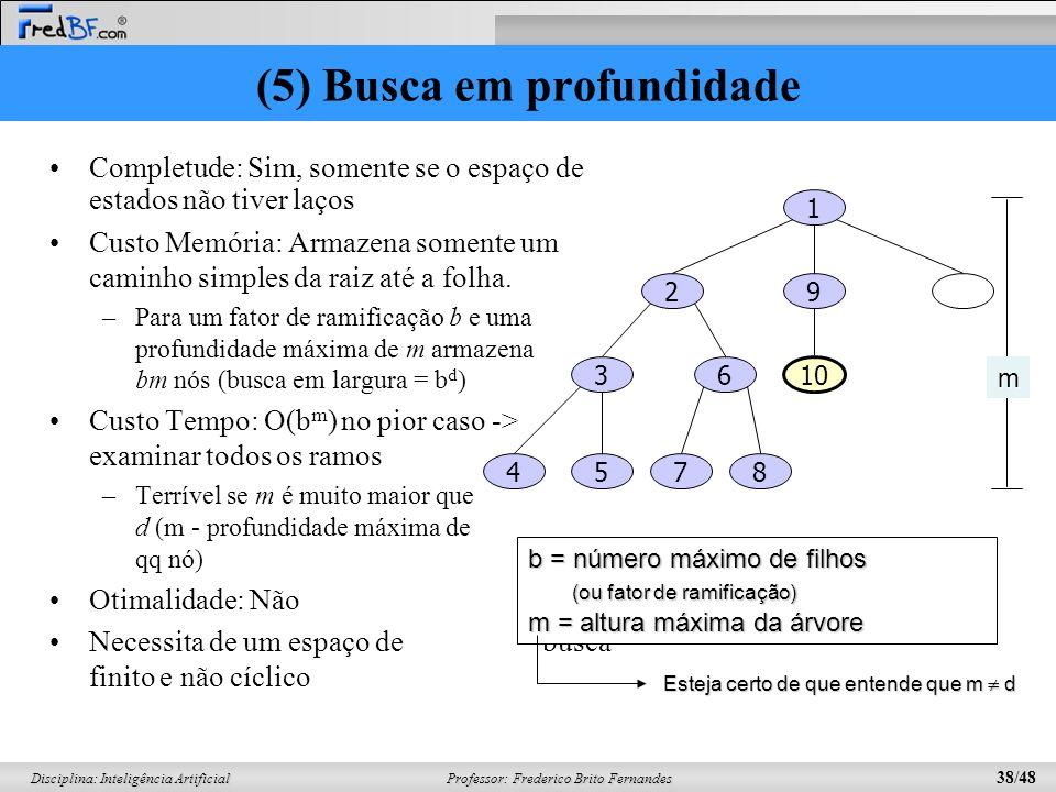 Professor: Frederico Brito Fernandes 38/48 Disciplina: Inteligência Artificial (5) Busca em profundidade Completude: Sim, somente se o espaço de estados não tiver laços Custo Memória: Armazena somente um caminho simples da raiz até a folha.
