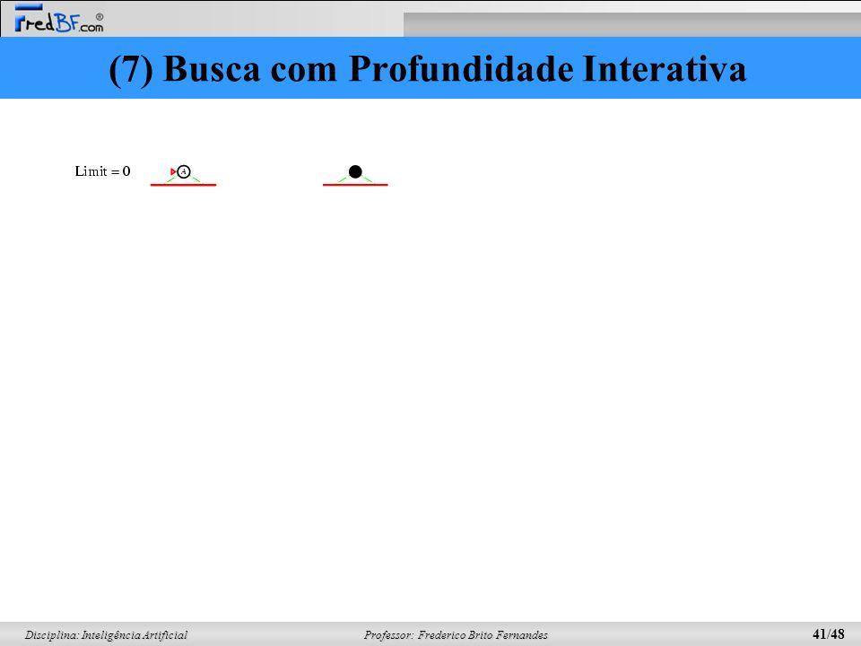 Professor: Frederico Brito Fernandes 41/48 Disciplina: Inteligência Artificial (7) Busca com Profundidade Interativa