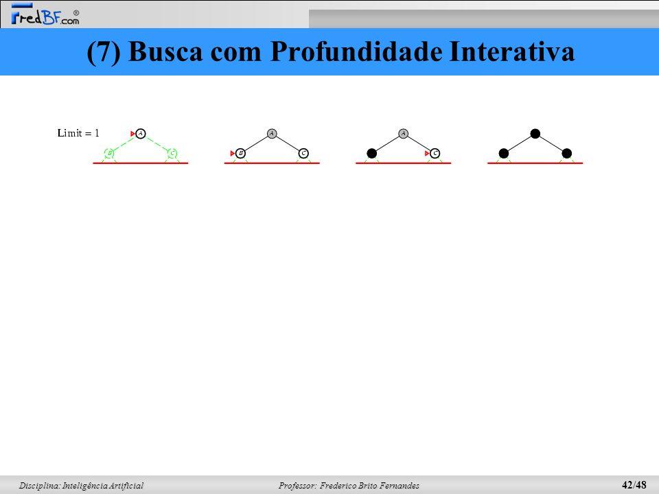Professor: Frederico Brito Fernandes 42/48 Disciplina: Inteligência Artificial (7) Busca com Profundidade Interativa