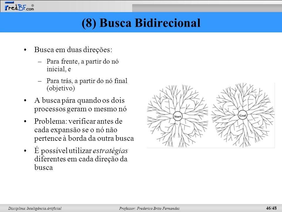 Professor: Frederico Brito Fernandes 46/48 Disciplina: Inteligência Artificial Busca em duas direções: –Para frente, a partir do nó inicial, e –Para t