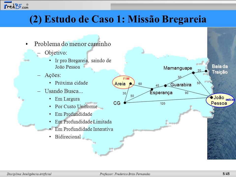 Professor: Frederico Brito Fernandes 8/48 Disciplina: Inteligência Artificial (2) Estudo de Caso 1: Missão Bregareia Problema do menor caminho –Objeti