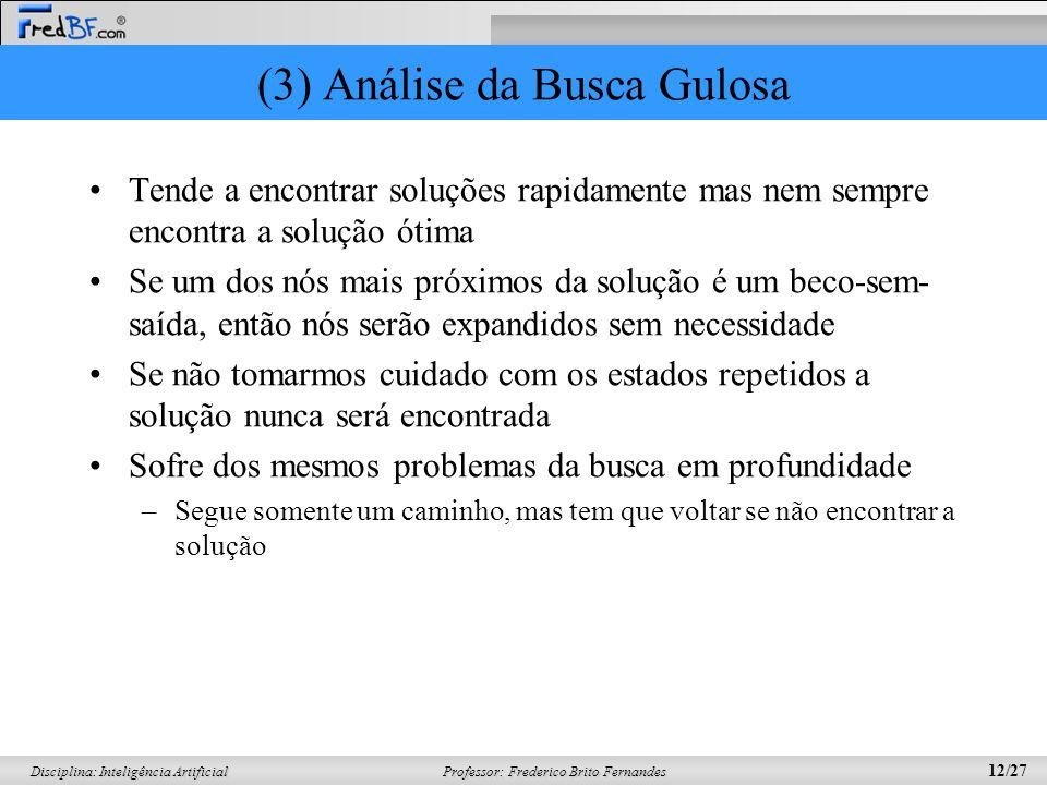 Professor: Frederico Brito Fernandes 12/27 Disciplina: Inteligência Artificial (3) Análise da Busca Gulosa Tende a encontrar soluções rapidamente mas