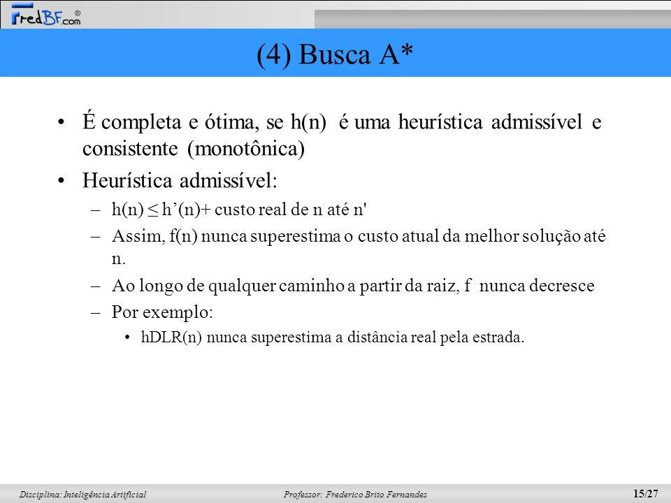 Professor: Frederico Brito Fernandes 15/27 Disciplina: Inteligência Artificial (4) Busca A* É completa e ótima, se h(n) é uma heurística admissível e