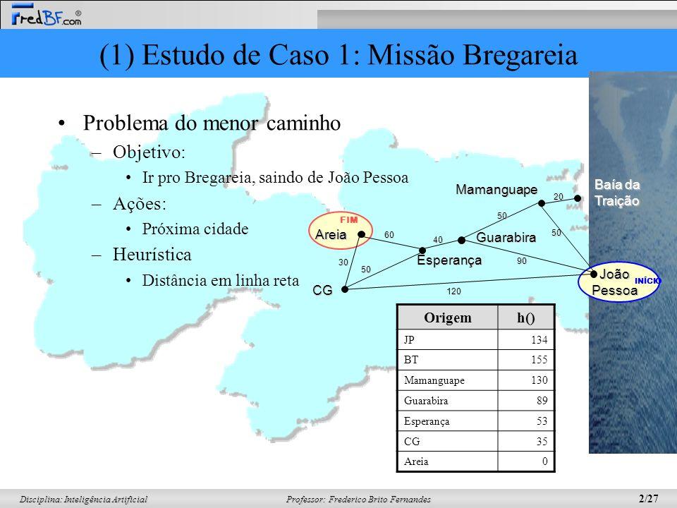 Professor: Frederico Brito Fernandes 2/27 Disciplina: Inteligência Artificial (1) Estudo de Caso 1: Missão Bregareia Problema do menor caminho –Objeti