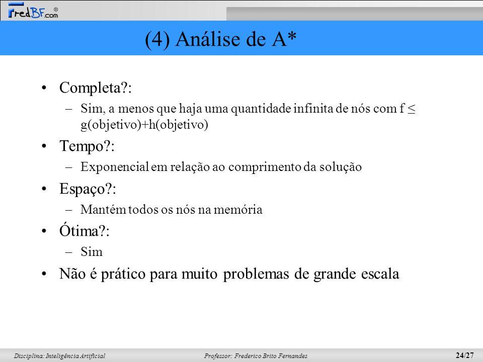 Professor: Frederico Brito Fernandes 24/27 Disciplina: Inteligência Artificial (4) Análise de A* Completa?: –Sim, a menos que haja uma quantidade infi