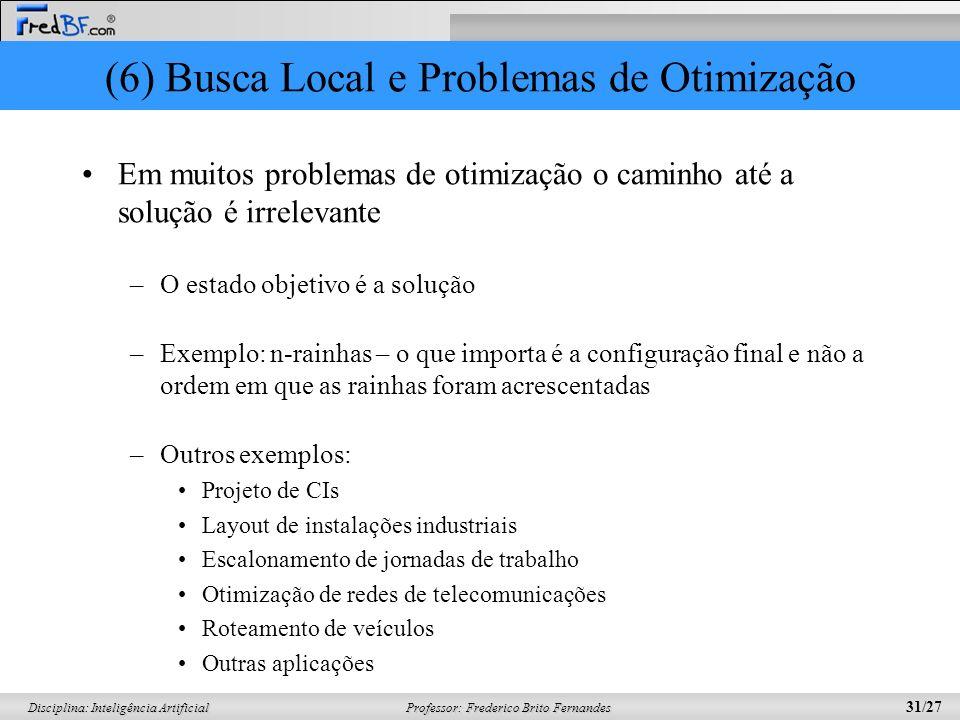 Professor: Frederico Brito Fernandes 31/27 Disciplina: Inteligência Artificial (6) Busca Local e Problemas de Otimização Em muitos problemas de otimiz