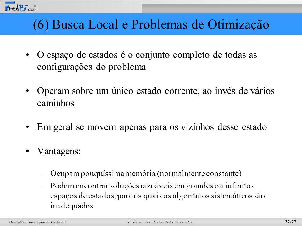 Professor: Frederico Brito Fernandes 32/27 Disciplina: Inteligência Artificial (6) Busca Local e Problemas de Otimização O espaço de estados é o conju