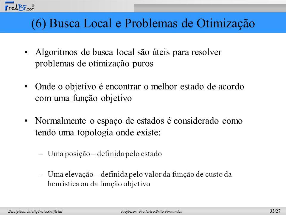 Professor: Frederico Brito Fernandes 33/27 Disciplina: Inteligência Artificial (6) Busca Local e Problemas de Otimização Algoritmos de busca local são