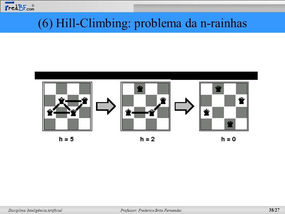 Professor: Frederico Brito Fernandes 38/27 Disciplina: Inteligência Artificial (6) Hill-Climbing: problema da n-rainhas