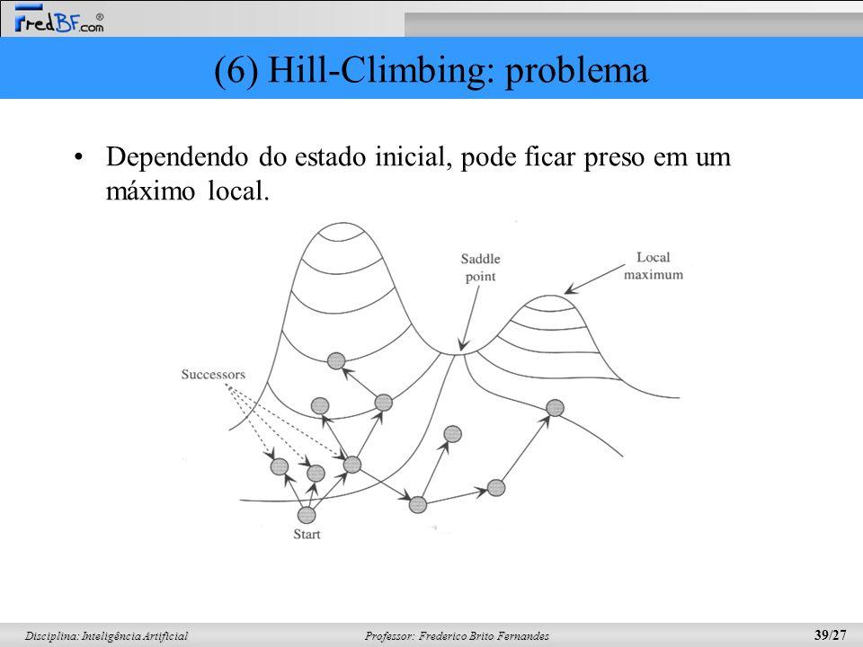 Professor: Frederico Brito Fernandes 39/27 Disciplina: Inteligência Artificial (6) Hill-Climbing: problema Dependendo do estado inicial, pode ficar preso em um máximo local.