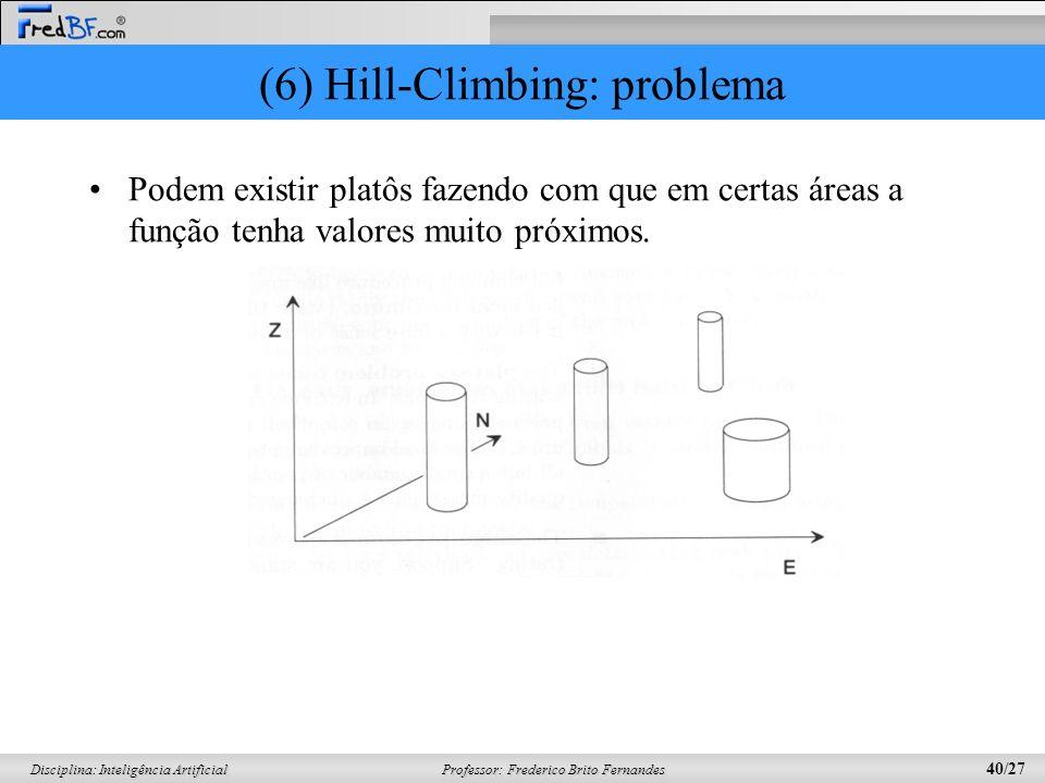 Professor: Frederico Brito Fernandes 40/27 Disciplina: Inteligência Artificial (6) Hill-Climbing: problema Podem existir platôs fazendo com que em certas áreas a função tenha valores muito próximos.