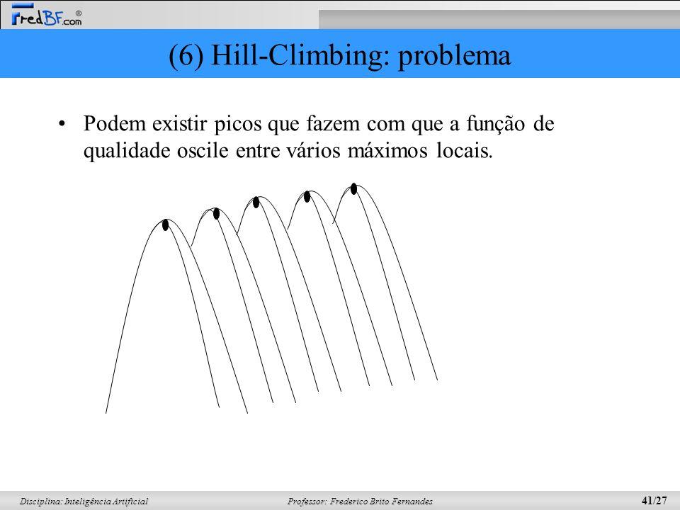 Professor: Frederico Brito Fernandes 41/27 Disciplina: Inteligência Artificial (6) Hill-Climbing: problema Podem existir picos que fazem com que a função de qualidade oscile entre vários máximos locais.