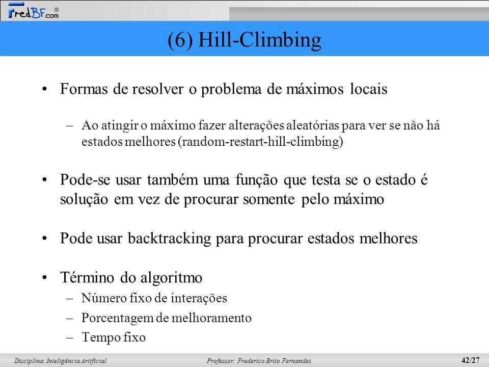 Professor: Frederico Brito Fernandes 42/27 Disciplina: Inteligência Artificial (6) Hill-Climbing Formas de resolver o problema de máximos locais –Ao a