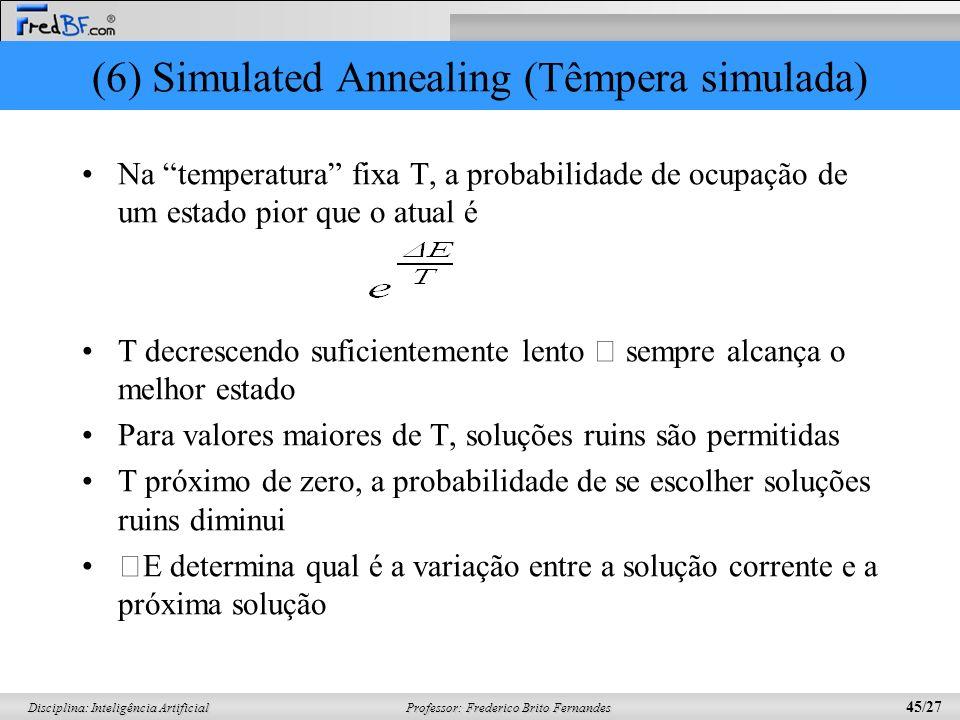 Professor: Frederico Brito Fernandes 45/27 Disciplina: Inteligência Artificial (6) Simulated Annealing (Têmpera simulada) Na temperatura fixa T, a pro