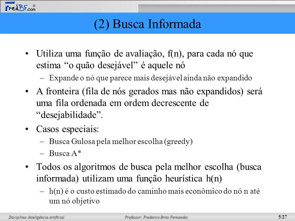 Professor: Frederico Brito Fernandes 5/27 Disciplina: Inteligência Artificial (2) Busca Informada Utiliza uma função de avaliação, f(n), para cada nó