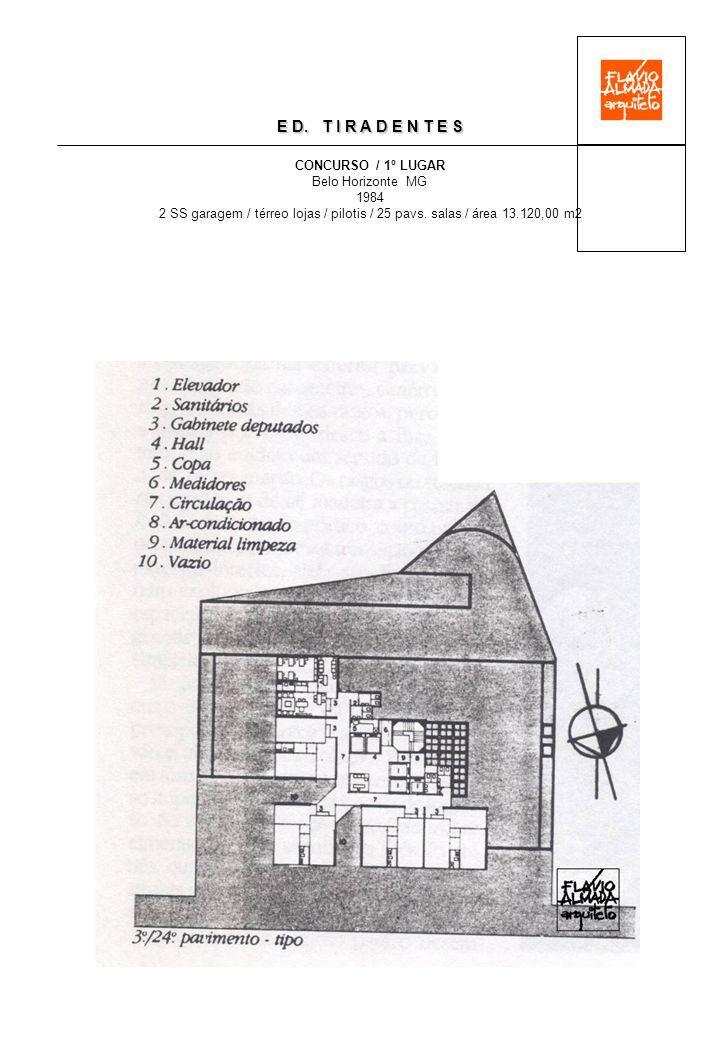 E D. T I R A D E N T E S CONCURSO / 1º LUGAR Belo Horizonte MG 1984 2 SS garagem / térreo lojas / pilotis / 25 pavs. salas / área 13.120,00 m2