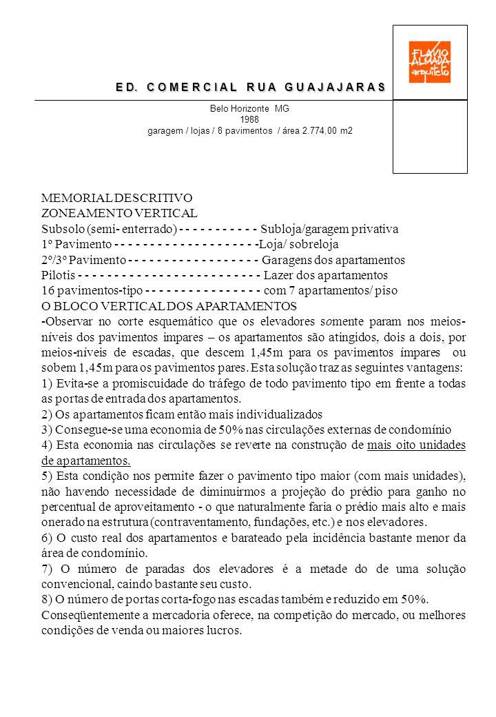 E D. C O M E R C I A L R U A G U A J A J A R A S Belo Horizonte MG 1988 garagem / lojas / 8 pavimentos / área 2.774,00 m2 MEMORIAL DESCRITIVO ZONEAMEN
