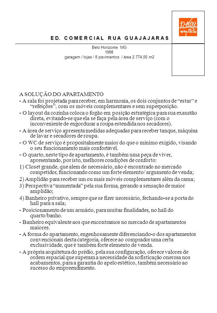 E D. C O M E R C I A L R U A G U A J A J A R A S Belo Horizonte MG 1988 garagem / lojas / 8 pavimentos / área 2.774,00 m2 A SOLUÇÃO DO APARTAMENTO - A