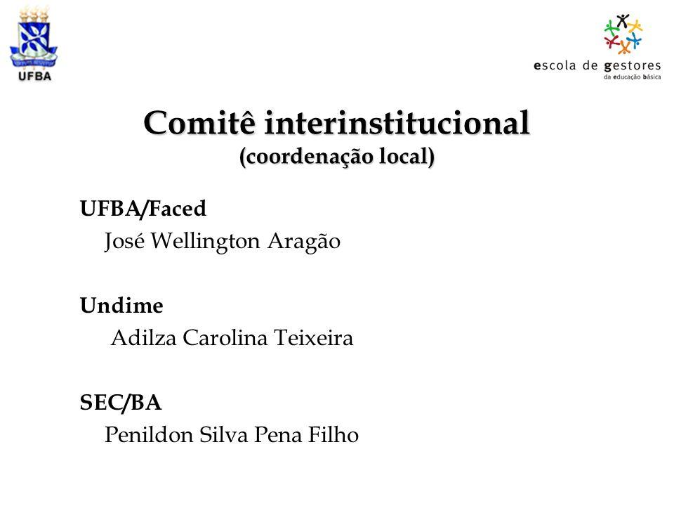 Comitê interinstitucional (coordenação local) UFBA/Faced José Wellington Aragão Undime Adilza Carolina Teixeira SEC/BA Penildon Silva Pena Filho