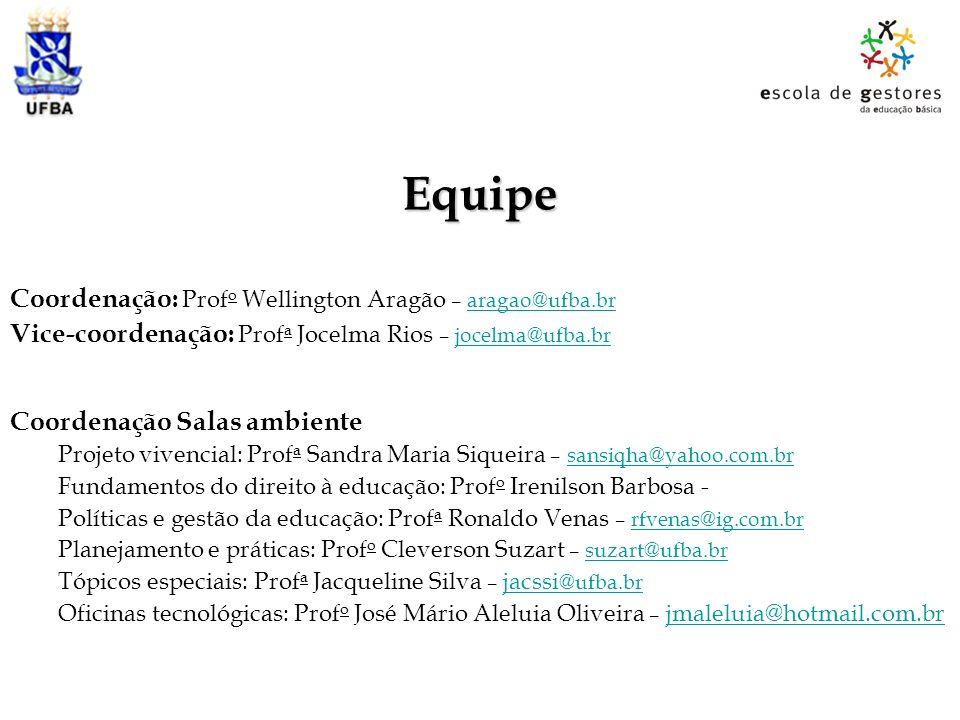 Equipe Coordenação: Prof o Wellington Aragão – aragao@ufba.braragao@ufba.br Vice-coordenação: Prof a Jocelma Rios – jocelma@ufba.brjocelma@ufba.br Coo