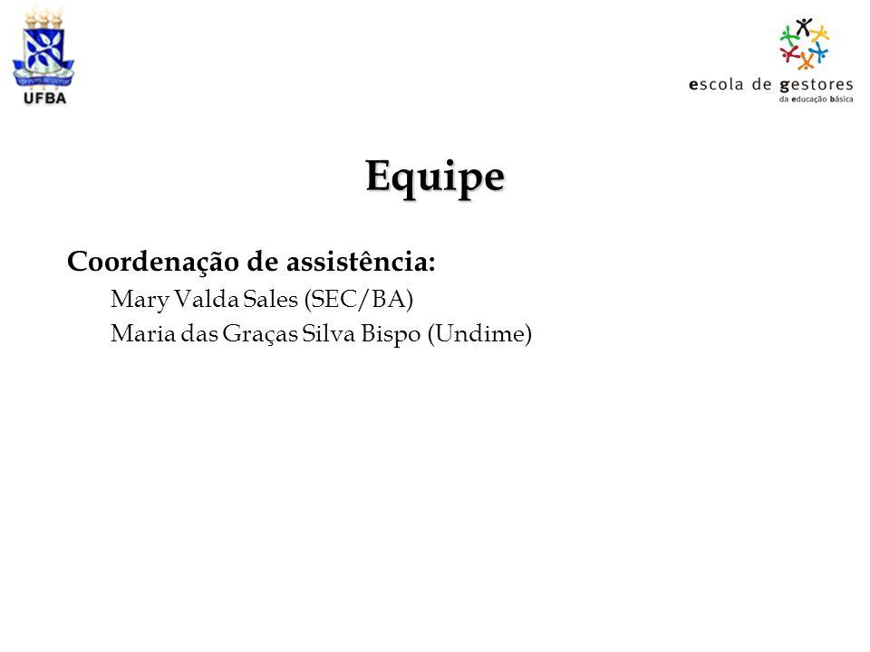 Equipe Coordenação de assistência: Mary Valda Sales (SEC/BA) Maria das Graças Silva Bispo (Undime)