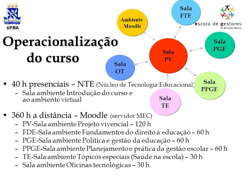 Operacionalização do curso 40 h presenciais – NTE (Núcleo de Tecnologia Educacional) –Sala ambiente Introdução do curso e ao ambiente virtual 360 h a