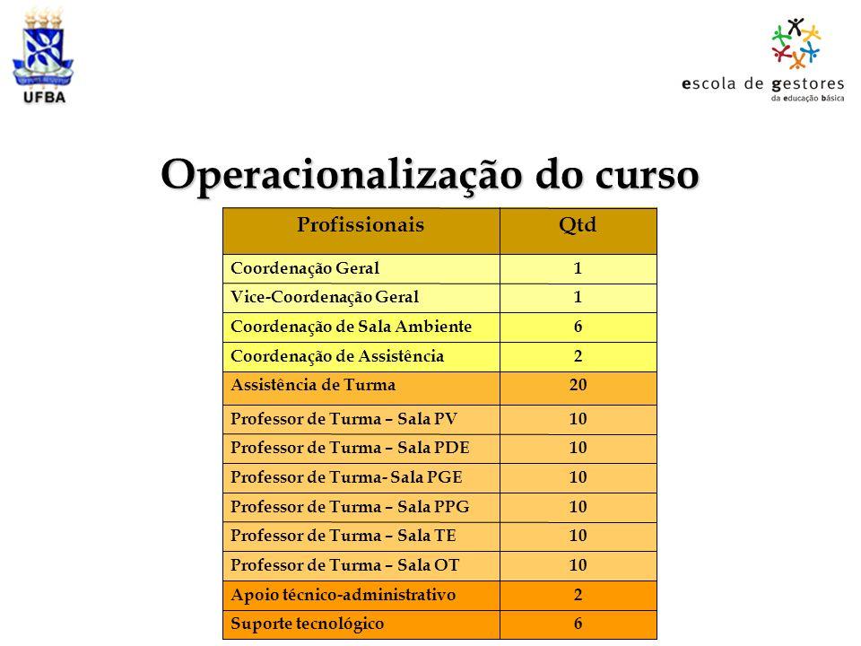 Operacionalização do curso 6Suporte tecnológico 2Apoio técnico-administrativo 10Professor de Turma – Sala OT 10Professor de Turma – Sala TE 10Professo