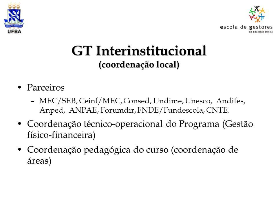 GT Interinstitucional (coordenação local) Parceiros –MEC/SEB, Ceinf/MEC, Consed, Undime, Unesco, Andifes, Anped, ANPAE, Forumdir, FNDE/Fundescola, CNT