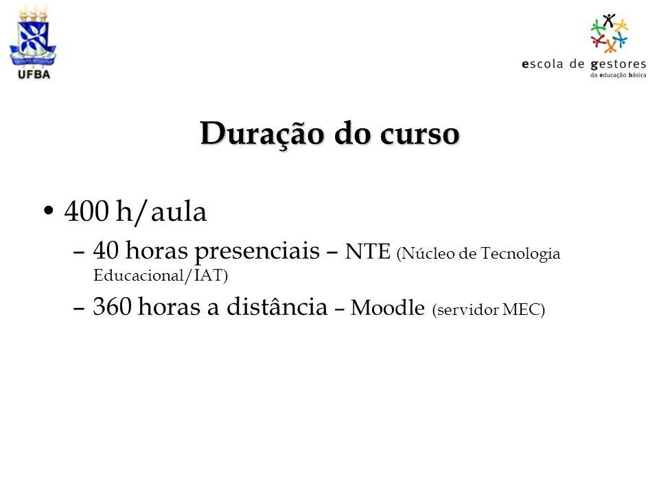 Duração do curso 400 h/aula –40 horas presenciais – NTE (Núcleo de Tecnologia Educacional/IAT) –360 horas a distância – Moodle (servidor MEC)