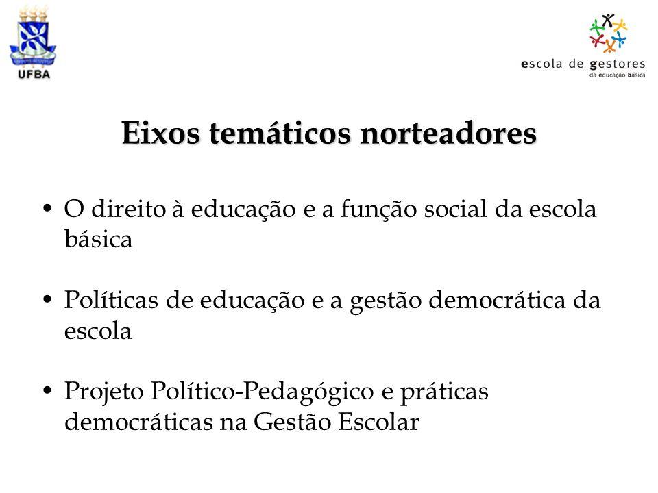 Eixos temáticos norteadores O direito à educação e a função social da escola básica Políticas de educação e a gestão democrática da escola Projeto Pol