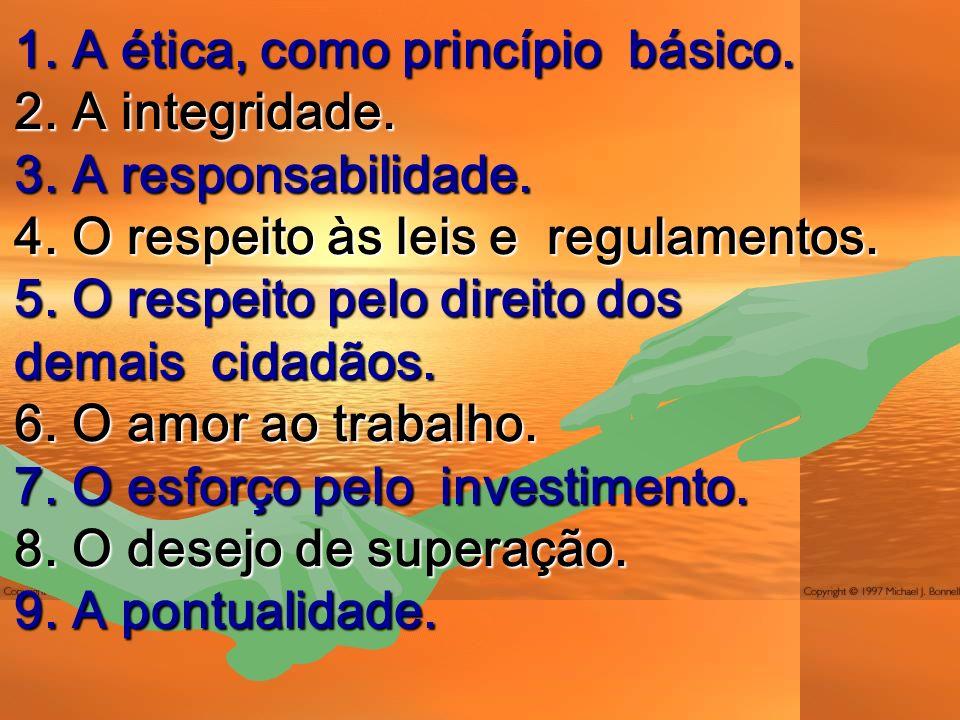 1.A ética, como princípio básico. 2. A integridade.