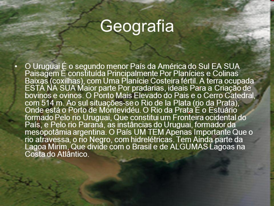 Geografia O Uruguai É o segundo menor País da América do Sul EA SUA Paisagem É constituída Principalmente Por Planícies e Colinas Baixas (coxilhas), c
