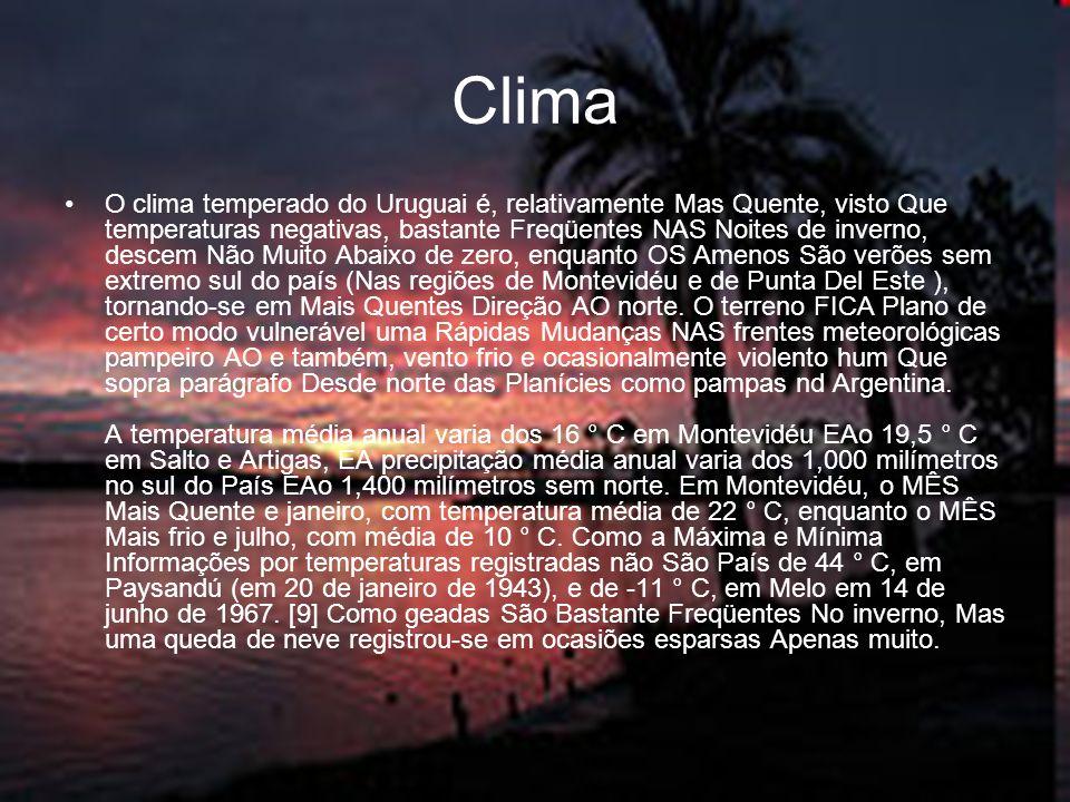 Clima O clima temperado do Uruguai é, relativamente Mas Quente, visto Que temperaturas negativas, bastante Freqüentes NAS Noites de inverno, descem Nã