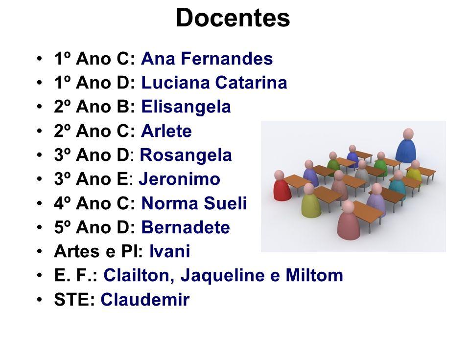 Docentes 1º Ano C: Ana Fernandes 1º Ano D: Luciana Catarina 2º Ano B: Elisangela 2º Ano C: Arlete 3º Ano D: Rosangela 3º Ano E: Jeronimo 4º Ano C: Nor