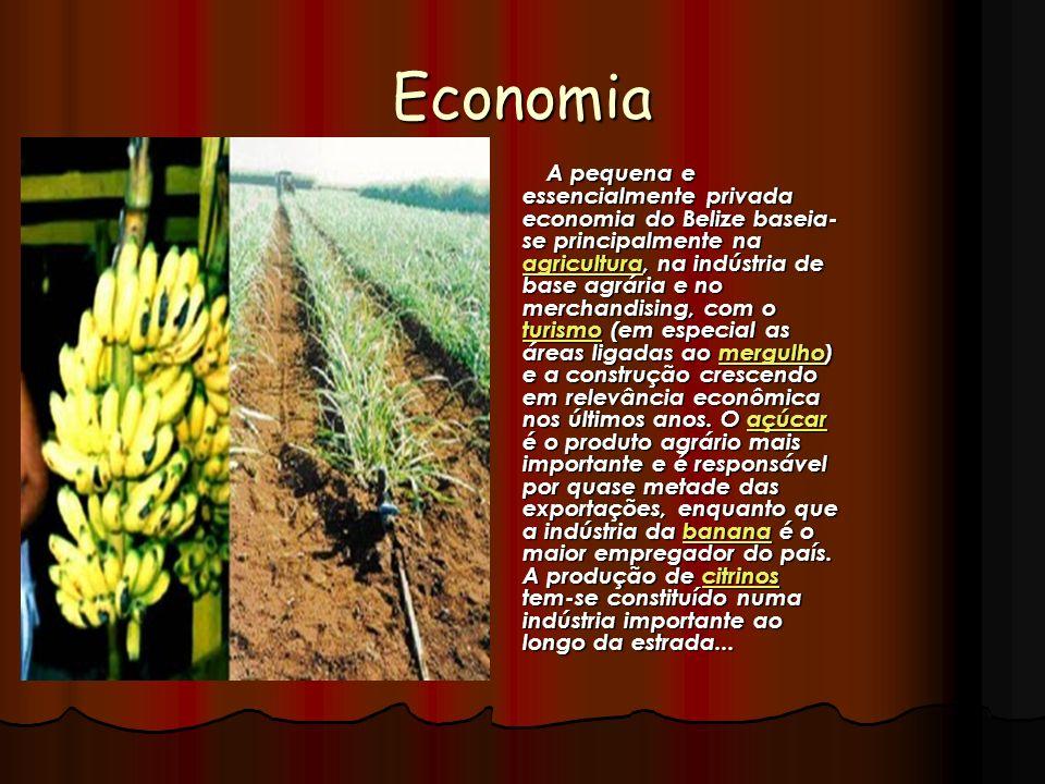 Economia A pequena e essencialmente privada economia do Belize baseia- se principalmente na agricultura, na indústria de base agrária e no merchandisi