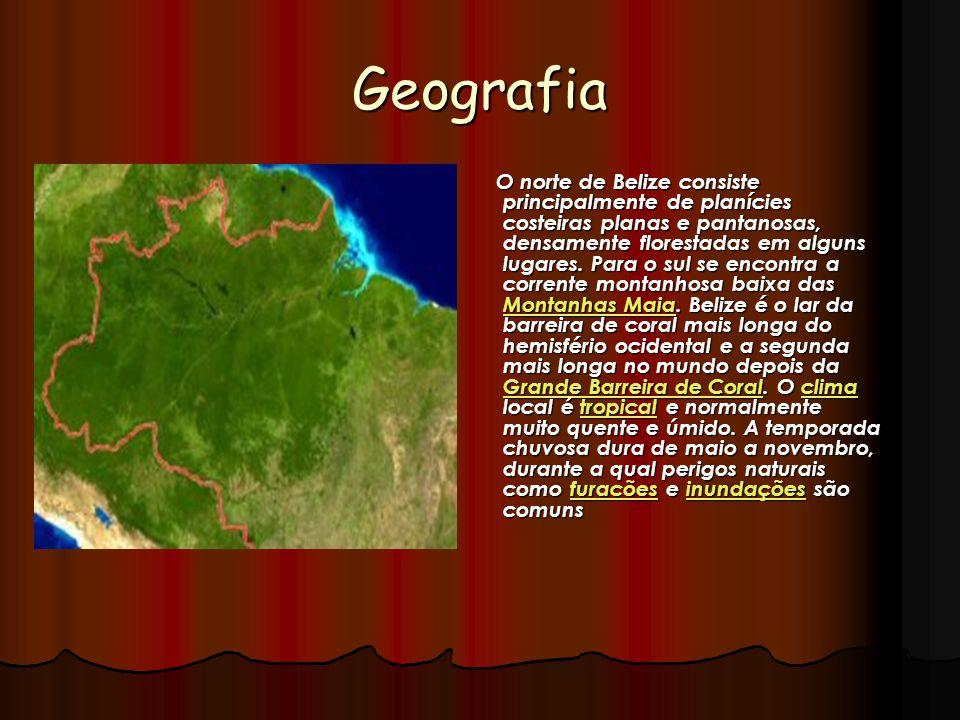 Geografia O norte de Belize consiste principalmente de planícies costeiras planas e pantanosas, densamente florestadas em alguns lugares. Para o sul s