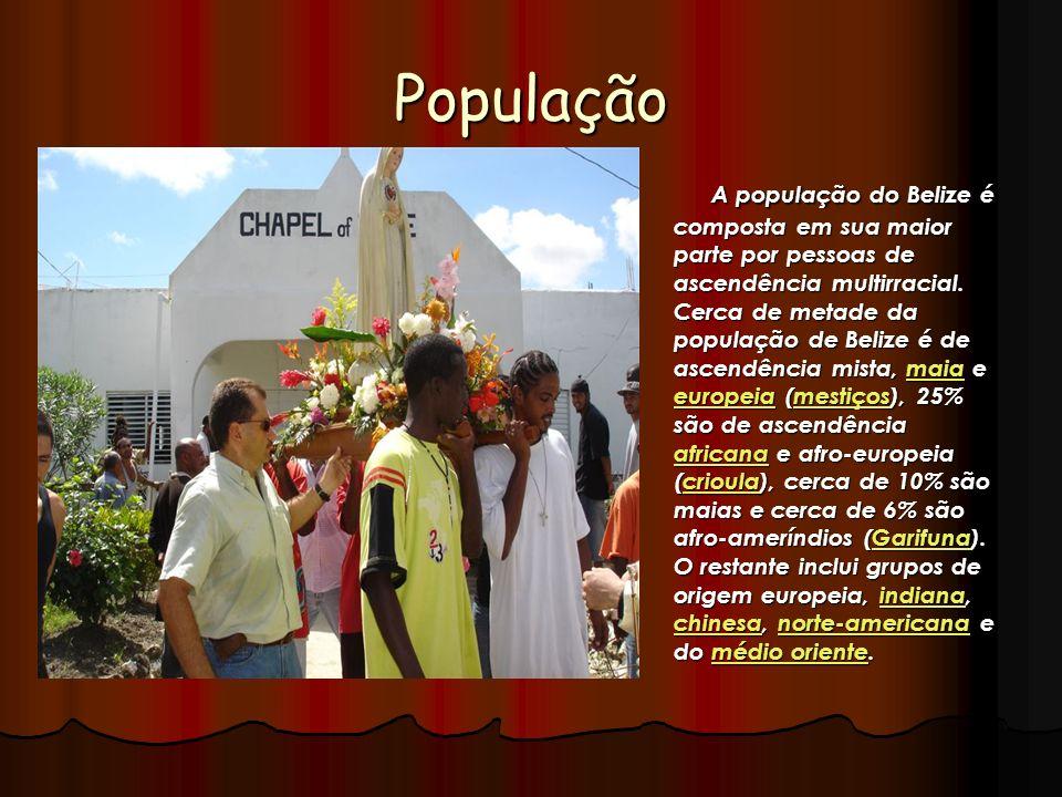 População A população do Belize é composta em sua maior parte por pessoas de ascendência multirracial. Cerca de metade da população de Belize é de asc