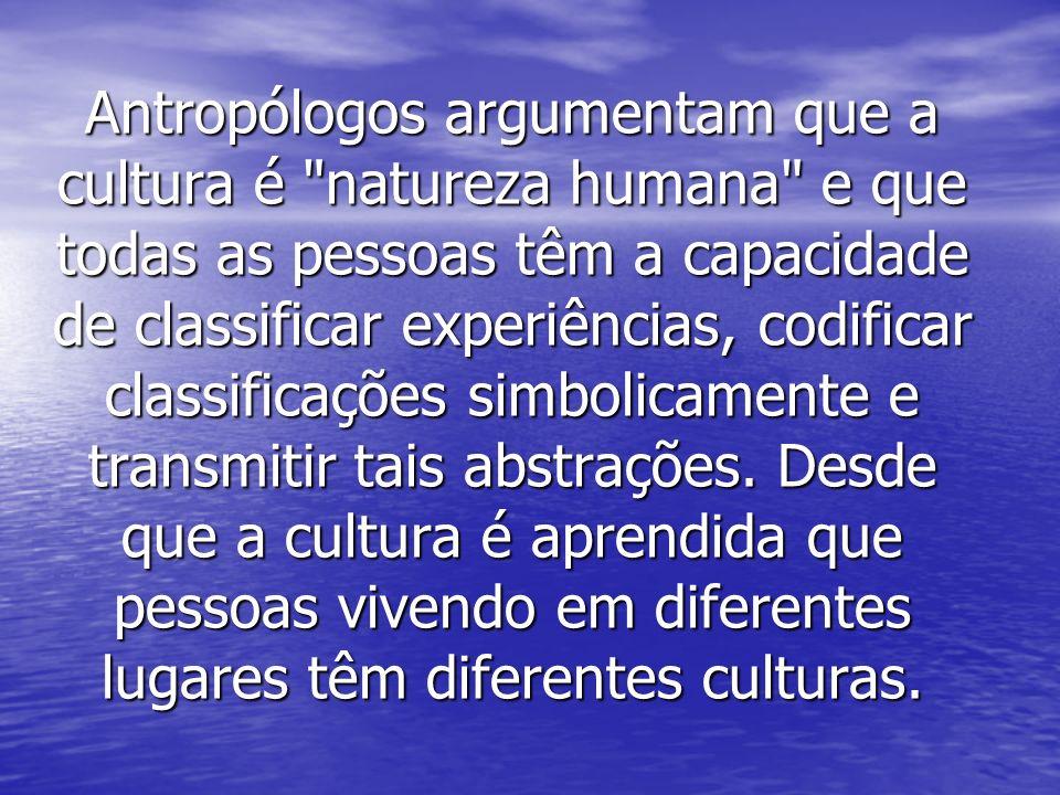 Antropólogos argumentam que a cultura é