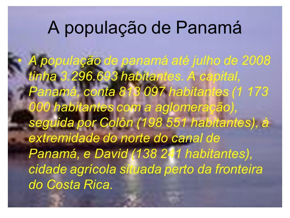 A população de Panamá A população de panamá até julho de 2008 tinha 3.296.693 habitantes.