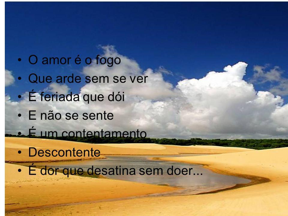 O amor é o fogo Que arde sem se ver É feriada que dói E não se sente É um contentamento Descontente É dor que desatina sem doer...