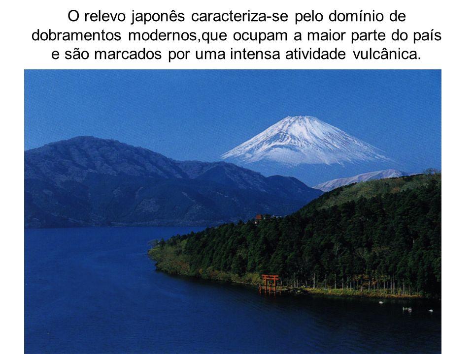 O relevo japonês caracteriza-se pelo domínio de dobramentos modernos,que ocupam a maior parte do país e são marcados por uma intensa atividade vulcâni