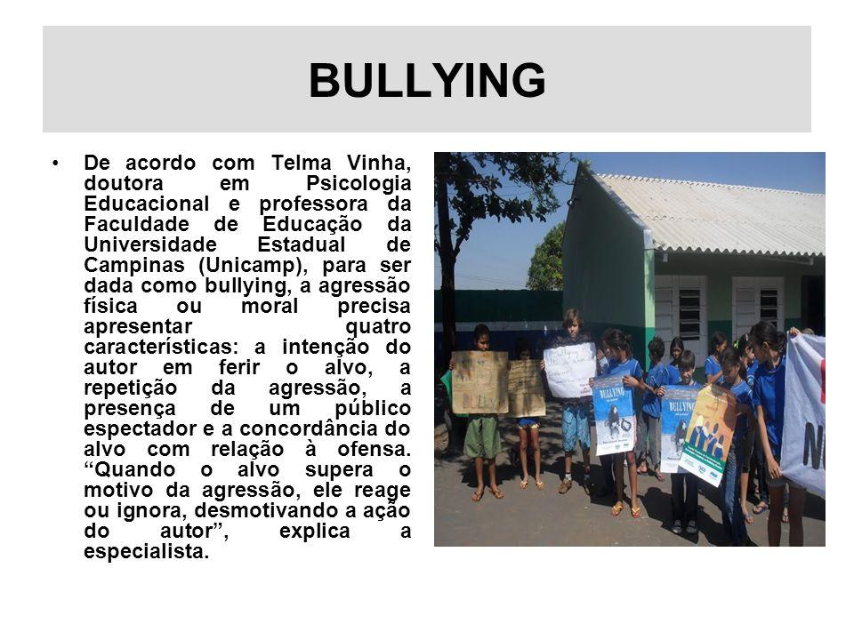 BULLYING De acordo com Telma Vinha, doutora em Psicologia Educacional e professora da Faculdade de Educação da Universidade Estadual de Campinas (Unic