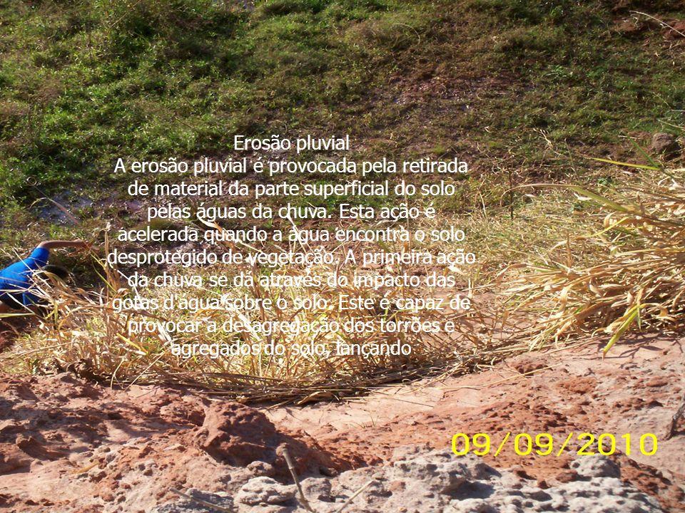 Erosão pluvial A erosão pluvial é provocada pela retirada de material da parte superficial do solo pelas águas da chuva. Esta ação é acelerada quando