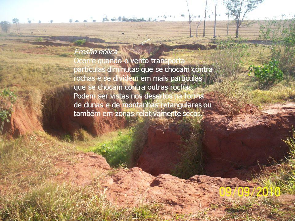 Erosão eólica Ocorre quando o vento transporta partículas diminutas que se chocam contra rochas e se dividem em mais partículas que se chocam contra o