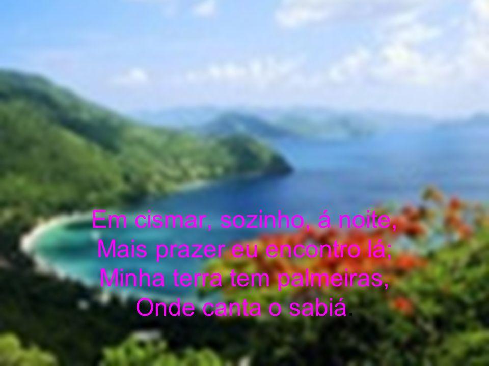 Em cismar, sozinho, á noite, Mais prazer eu encontro lá; Minha terra tem palmeiras, Onde canta o sabiá.