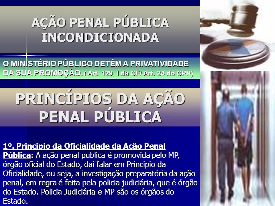 AÇÃO PENAL PÚBLICA INCONDICIONADA O MINISTÉRIO PÚBLICO DETÉM A PRIVATIVIDADE DA SUA PROMOÇÃO. ( Art. 129, I da CF/ Art. 24 do CPP) PRINCÍPIOS DA AÇÃO