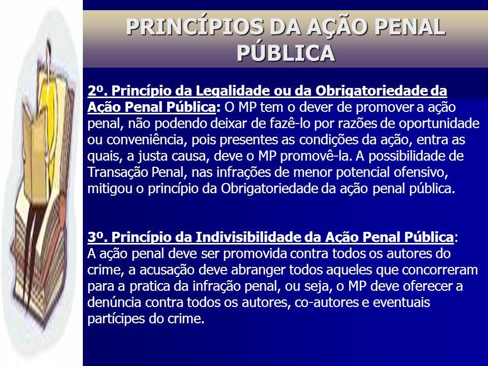 PRINCÍPIOS DA AÇÃO PENAL PÚBLICA 2º. Princípio da Legalidade ou da Obrigatoriedade da Ação Penal Pública: O MP tem o dever de promover a ação penal, n