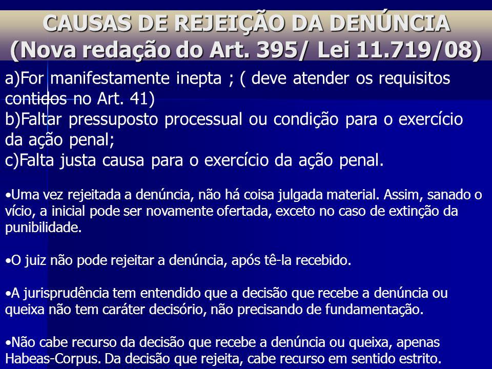 CAUSAS DE REJEIÇÃO DA DENÚNCIA (Nova redação do Art. 395/ Lei 11.719/08) a)For manifestamente inepta ; ( deve atender os requisitos contidos no Art. 4