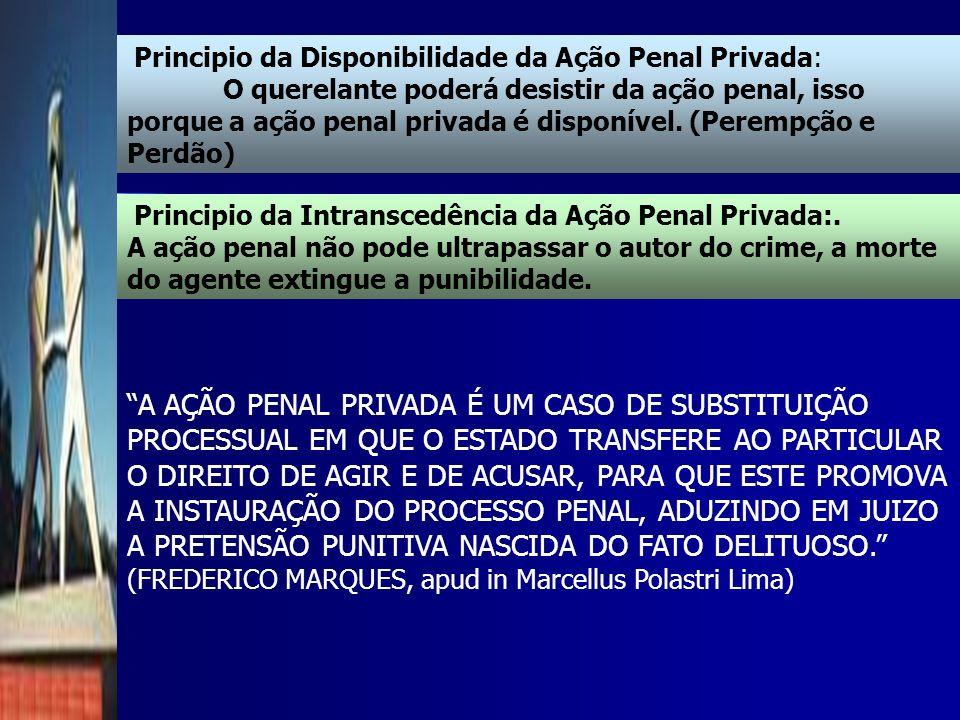 Principio da Disponibilidade da Ação Penal Privada: O querelante poderá desistir da ação penal, isso porque a ação penal privada é disponível. (Peremp